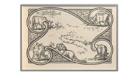 FOur oxen and a lion