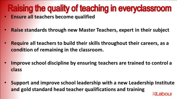 Raise quality of teaching Labour