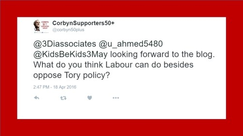 Corbyn 50+ tweet